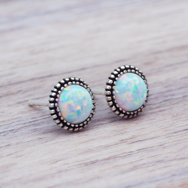 Dainty Silver Opal Earrings. Bohemian Jewellery. Indie and Harper