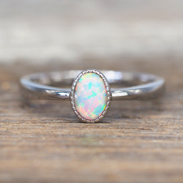 Dainty White Opal Oval Ring. Bohemian Jewellery. Indie and Harper