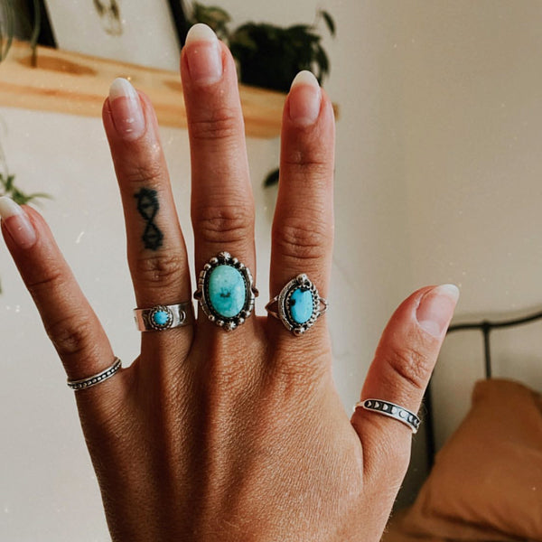 Detailed Raw Turquoise Navajo Ring