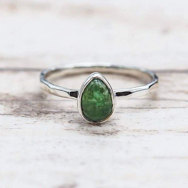 Emerald Ring. Bohemian Jewellery. Indie and Harper