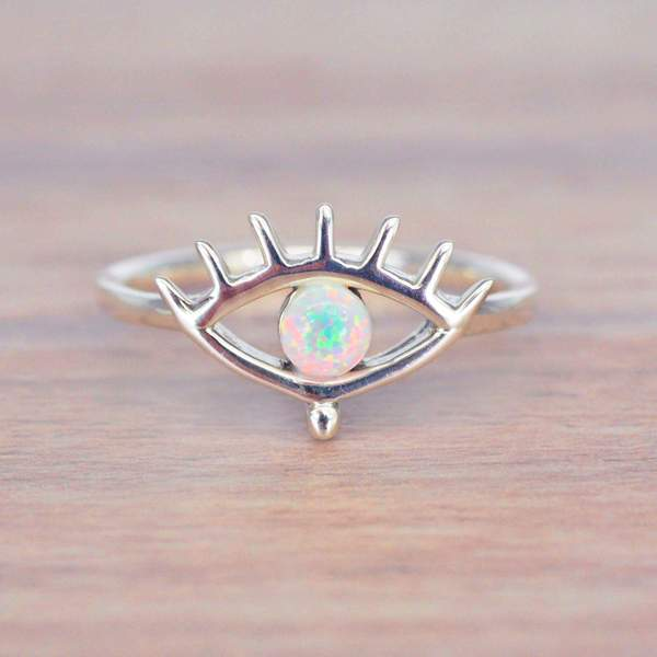 Evil Eye Opal Ring. Bohemian Jewellery. Indie and Harper