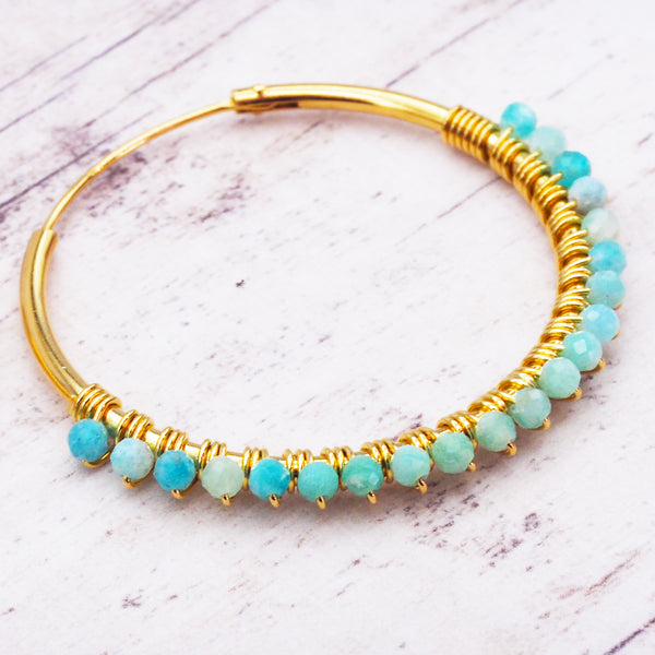 Gold Amazonite Hoops - Women's Jewellery - Indie and Harper