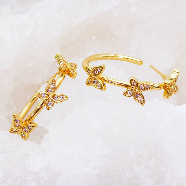 Gold Butterfly Hoops - Women's Jewellery - Indie and Harper