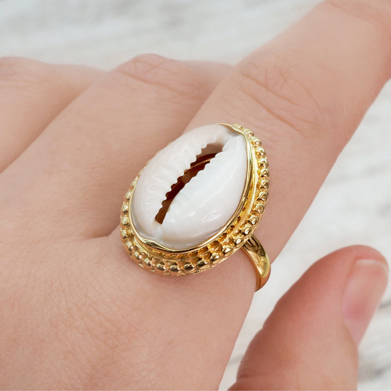 Gold Cowrie Sea Shell Ring - Women's Jewellery - Indie and Harper