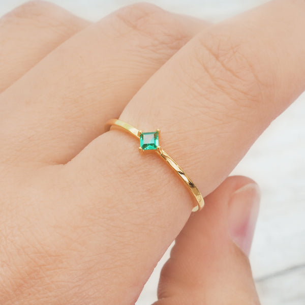 Gold Dainty Emerald Ring - Women's Jewellery - Indie and Harper