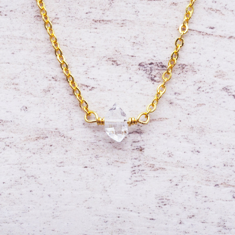 Gold Dainty Herkimer Quartz Necklace - Women's Jewellery - Indie and Harper