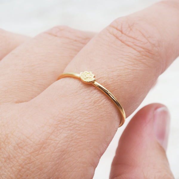 Gold Dainty Lotus Flower Ring - Women's Jewellery - Indie and Harper