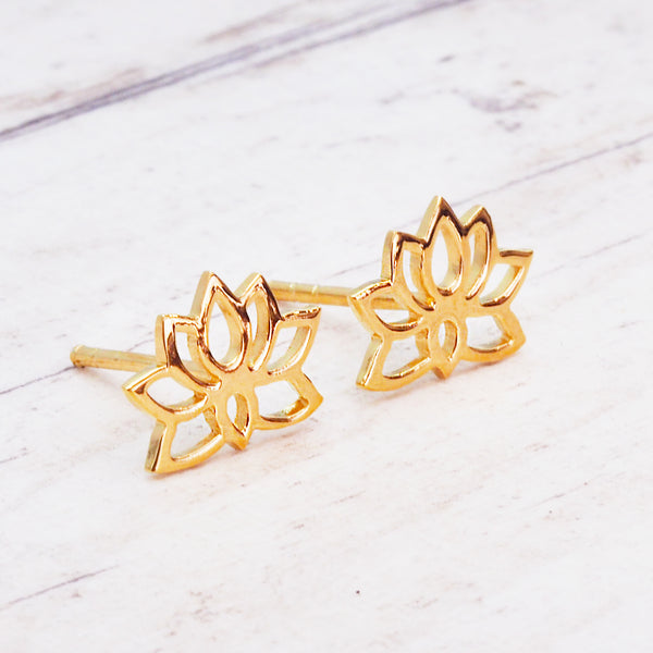 Gold Dainty Lotus Flower Studs - Women's Jewellery - Indie and Harper