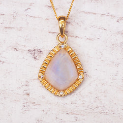 Gold Elegant Moonstone Pendant - Women's Jewellery - Indie and Harper