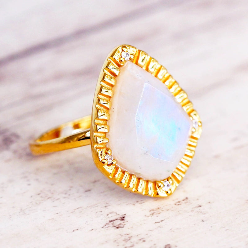 Gold Elegant Moonstone Ring - Women's Jewellery - Indie and Harper