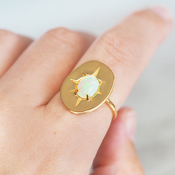 Gold Ethiopian Opal Ring - Women's Jewellery - Indie and Harper