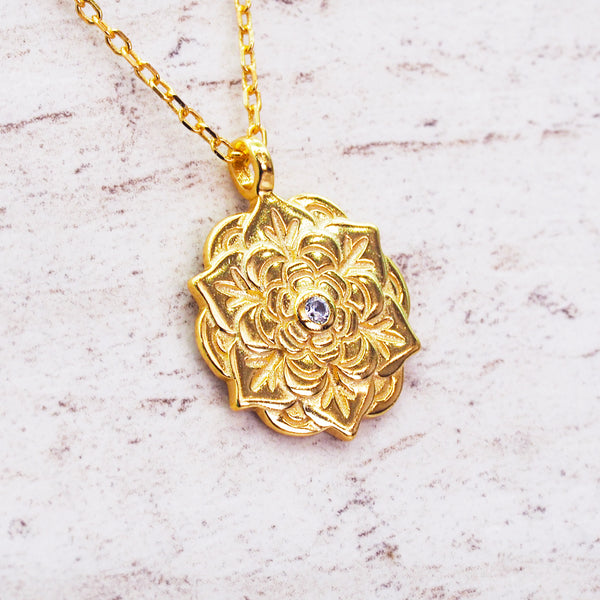 Gold Flower Mandala Necklace - Women's Jewellery - Indie and Harper