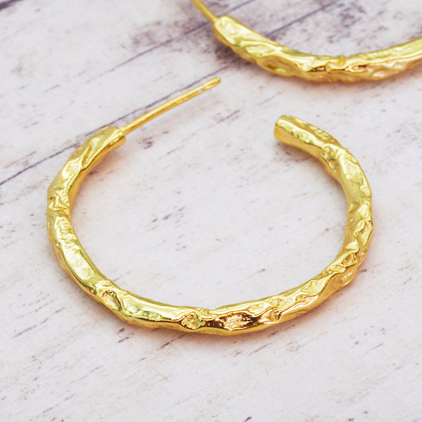 Gold Hammered Hoops - Women's Jewellery - Indie and Harper