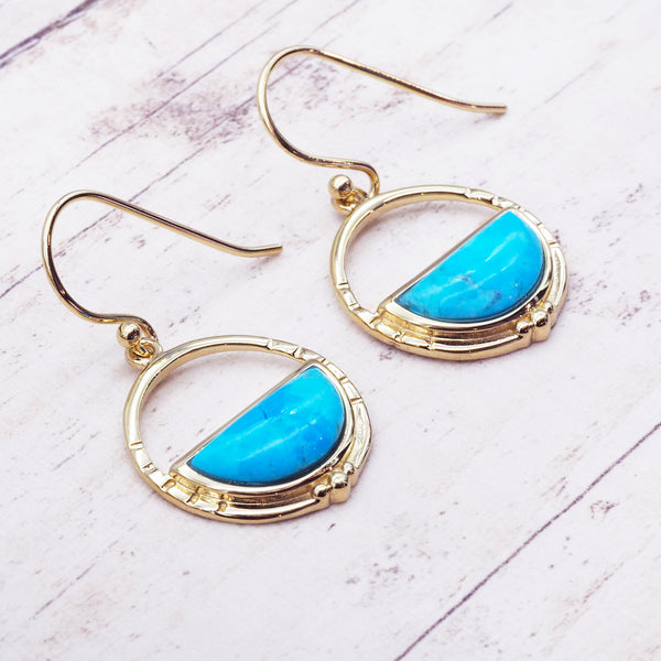 Gold Horizon Turquoise Earrings - Women's Jewellery - Indie and Harper