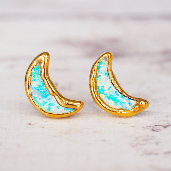 Gold Kyocera Opal Moon Studs - Women's Jewellery - Indie and Harper