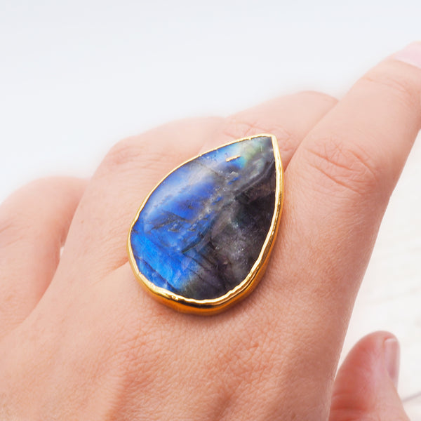 Gold Labradorite Ring - Women's Jewellery - Indie and Harper