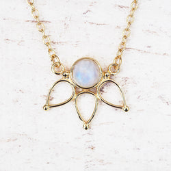Gold Moonstone Lotus Necklace - Women's Jewellery - Indie and Harper