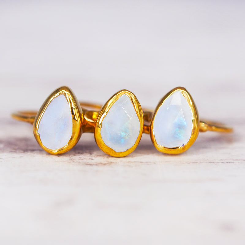 Gold Moonstone Tear Drop Ring - Women's Jewellery - Indie and Harper