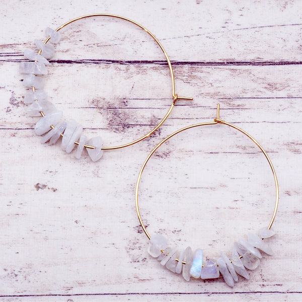 Gold Multi Moonstone Earrings - Women's Jewellery - Indie and Harper
