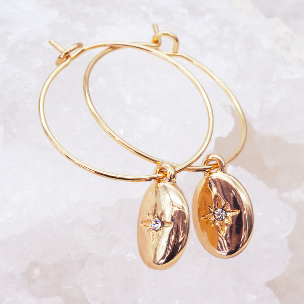 Gold Oval Drop Earrings - Women's Jewellery - Indie and Harper