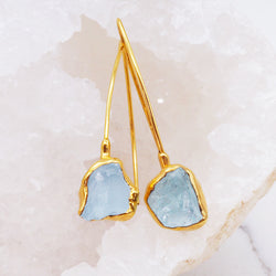 Gold Raw Aquamarine Drop Earrings - Women's Jewellery - Indie and Harper