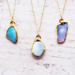Gold Raw Australian Opal Necklace - Jewellery - Indie and Harper