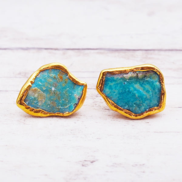 Gold Raw Turquoise Earrings - Women's Jewellery - Indie and Harper