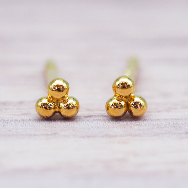 Gold Triad Studs. Women's Jewellery. Indie and Harper
