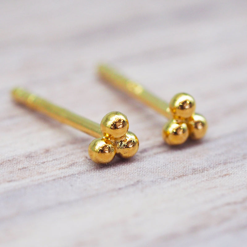 Gold Triad Studs. Women's Jewelry. Indie and Harper