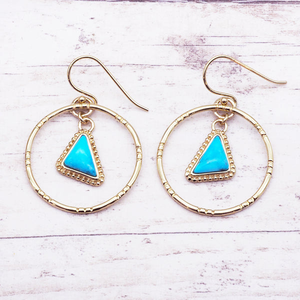 Gold Tribal Turquoise Earrings - Women's Jewellery - Indie and Harper