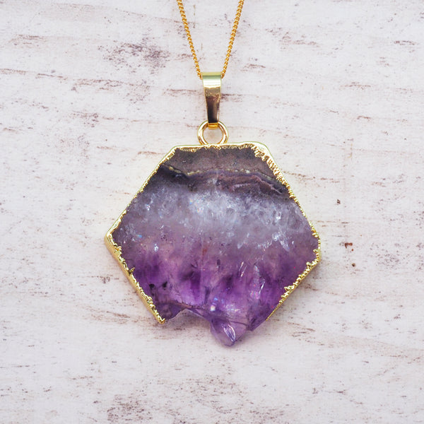 Gold Amethyst Crystal Necklace. Bohemian Jewellery. Indie and Harper