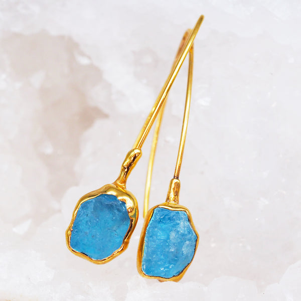Gold Aquamarine Drop Earrings. Women's Jewellery. Indie and Harper