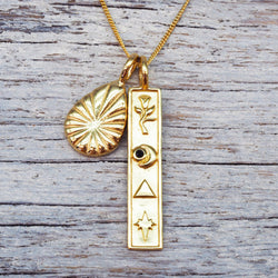 Gold Cryptic Necklace. Bohemian Jewellery. Indie and Harper