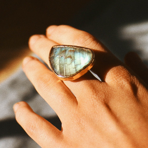 Gold Labradorite Ring