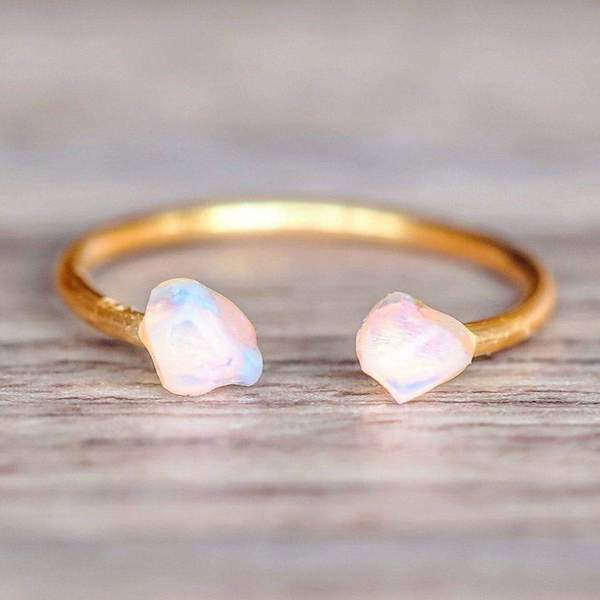Gold Little Raw Opal Ring. Bohemian Jewellery. Indie and Harper