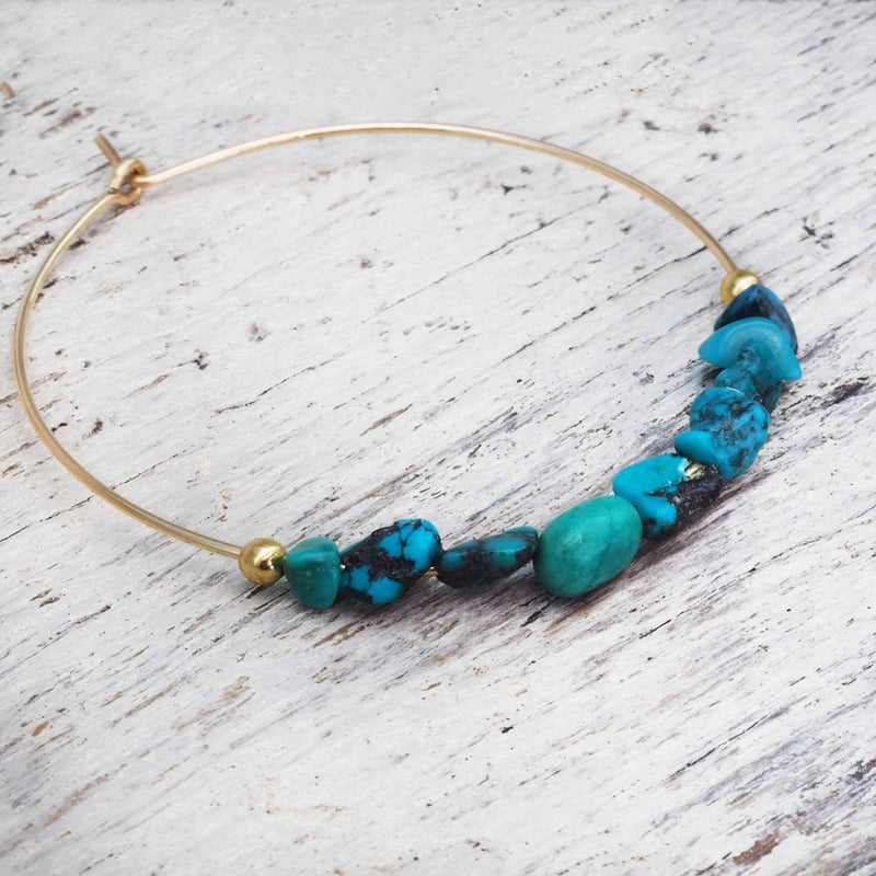 Gold Multi Turquoise Hoop Earrings - Indie and Harper. Bohemian Gypsy Festival Jewellery. www.indieandharper.com