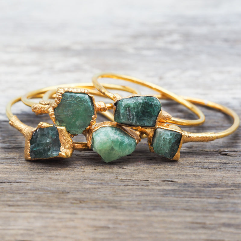 Gold Raw Emerald Ring | Bohemian Jewellery | Indie and Harper