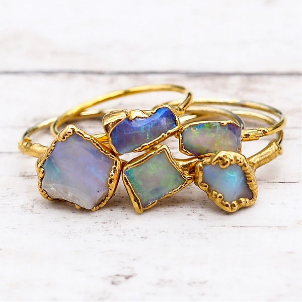 Gold Raw Opal Ring | Bohemian Jewellery | Indie and Harper