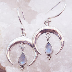 Half Moon Tear Drop Moonstone Earrings - Women's Jewellery - Indie and Harper