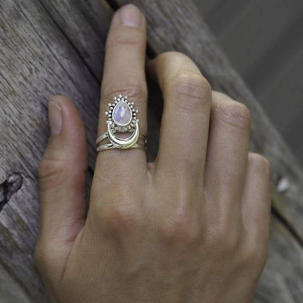 Half Moon Moonstone Ring. Bohemian Jewellery. Indie and Harper