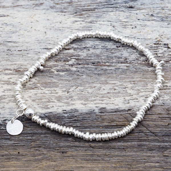Silver Disc Layer Bracelet. Bohemian Jewellery. Indie and Harper.