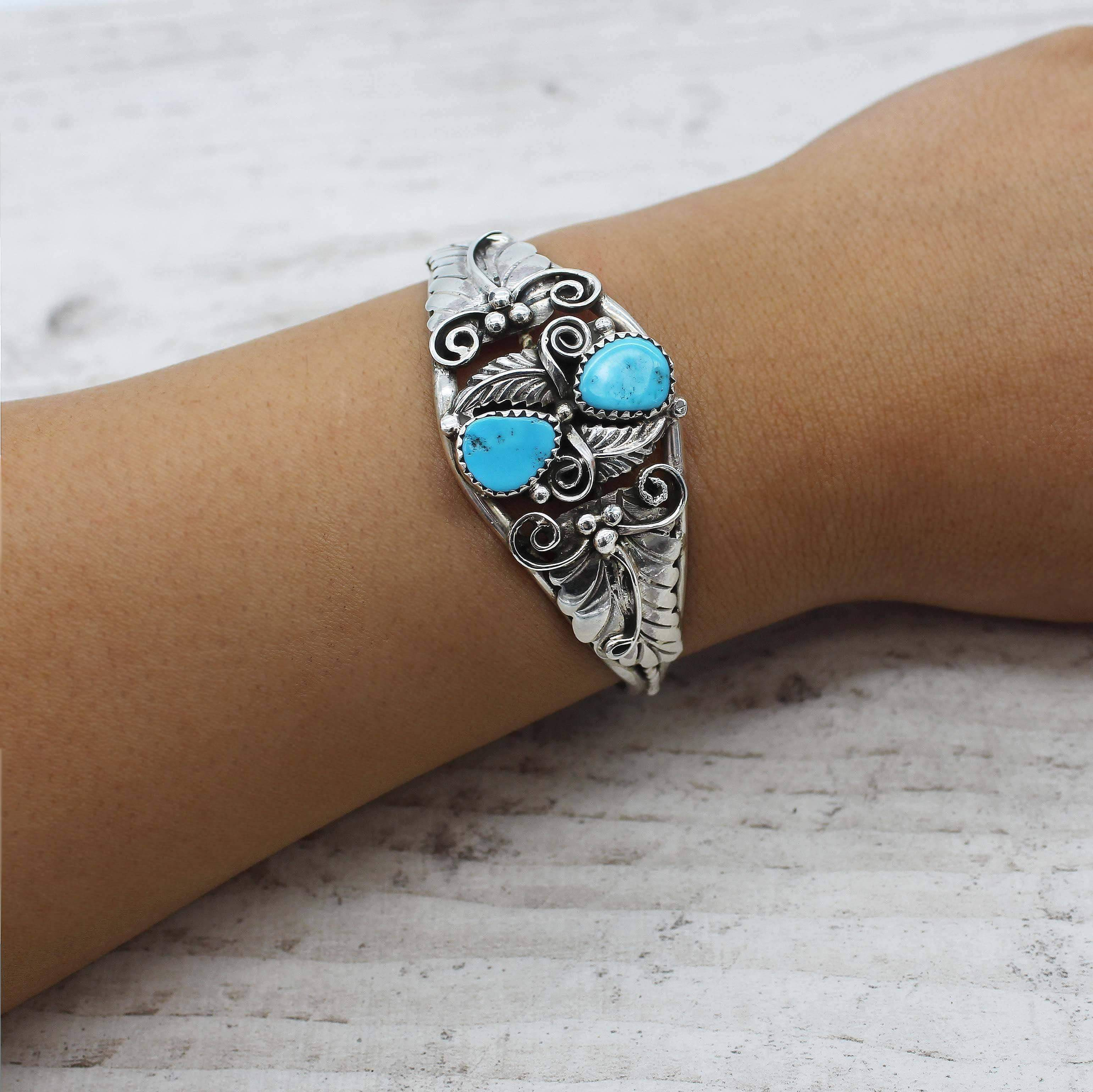 Navajo Sleeping Beauty Turquoise Cuff - www.indieandharper.com - bohemian gypsy festival jewellery boho jewelry - indie and harper