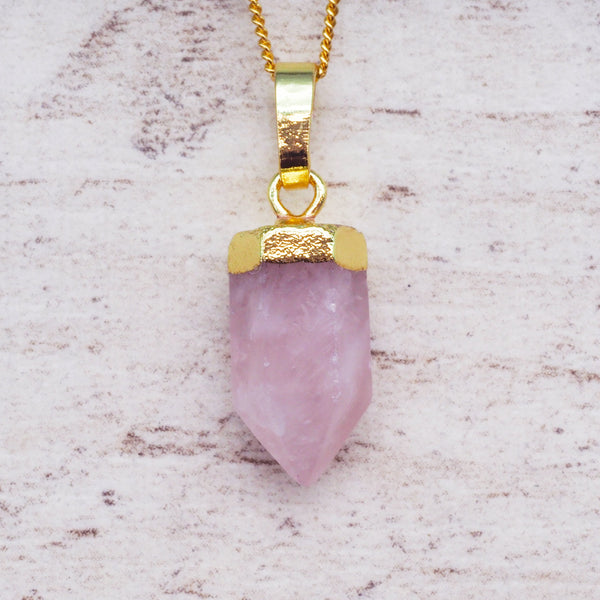 Kids Gold Rose Quartz Pendant Necklace. Bohemian Jewellery. Indie and Harper