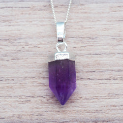Kids Silver Amethyst Pendant Necklace. Bohemian Jewellery. Indie and Harper