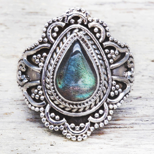 Labradorite Flower Ring