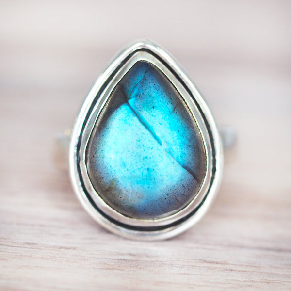Labradorite Rain Drop Ring. Bohemian Jewellery. Indie and Harper