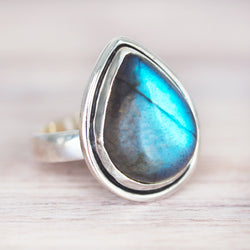 Labradorite Rain Drop Ring