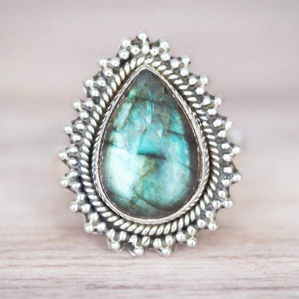 Labradorite Sun Rise Ring. Bohemian Jewellery. Indie and Harper