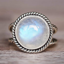 Silver Double Twist Moonstone Ring. Bohemian Jewellery. Indie and Harper
