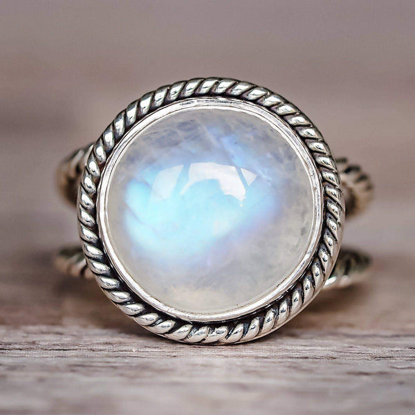Large Double Twist Moonstone Ring Bohemian Gypsy Jewels